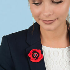 Large  POPPY BROOCH  flower jewellery  MADE IN WALES  UK Handpainted