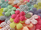 100! XL Padded Satin & Felt Polka Dot Flowers - Colour Mix Flower - 48MM/1.9""