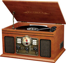 Victrola - 6-in-1 Bluetooth Entertainment Center - Mahogany