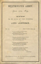 lord lawrence ( viceroy of india )  1879 original hymn sheet for the funeral