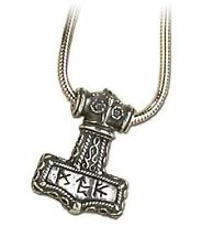 New Alchemy Gothic Pewter Bindrune Hammer Norse Thor Necklace P338