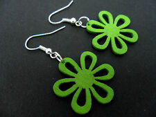 A PAIR OF CUTE LITTLE GREEN WOODEN FLOWER DANGLY EARRINGS. NEW.