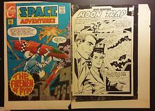 Space Adventures / Moon Trap Comic Cover Production Proofs Color / BW 2pc lot WH