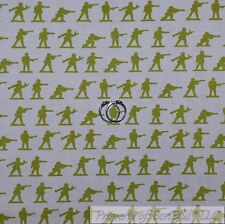BonEful Fabric FQ Cotton Quilt White Green Camo Army Boy VTG Military Gun Stripe