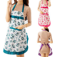 Women Restaurant Home Kitchen Cooking Cotton Apron Bib Floral Pattern Engaging