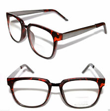 Large Horn Rimmed Nerd Clear lens Glasses Retro Matte Brown Gun Metal Frame 472