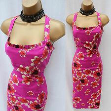KAREN MILLEN Pink Floral Cotton Stretch Halterneck Wiggle Cocktail Dress 10