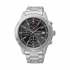 New Seiko Men's Chronograph Black Dial Stainless Steel Watch SKS431