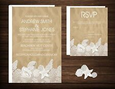 Wedding Invitations Beach Desitnation Beach & Lace 50 Invitations & RSVP Cards