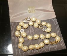Givenchy gold tone , large faux pearl, clear crystals necklace