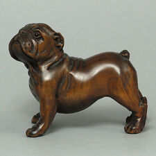 "1940's Japanese handmade Boxwood Wood Netsuke ""BULL DOG"" Figurine Carving"