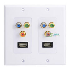 4 RCA 8 Ports 2 F type Coax TV Video Double USB2.0 Connector Outlet Wall Plate