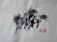 Oridental art Hand Paint Chinese brush water ink painting  horse signed