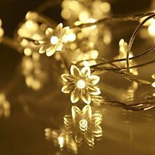 20 WARM WHITE STRING PETAL LIGHTS CHRISMAS WEDDING PARTY DECORATION INDOOR/OUT