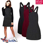 UK Ladies Women Pinafore Dungarees Buttoned A Line Mini Dress Playsuit Size 6-14