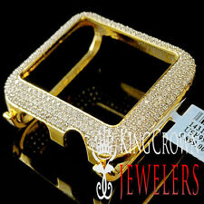 14K Yellow Gold On Real Sterling Silver Lab Diamond Case 42MM Apple Watch Bezel