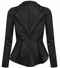 Ladies Womens Peplum Frill Front Zip Slim Fit Blazer Jacket Coat 8-24 Plus Size
