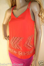 NWT bebe pink orange red double straps gold silver stud tank cami top S small 4