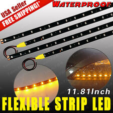4x Amber Yellow 12V 30CM 15-LED Car Motor Flexible Waterproof Strip LED Lights