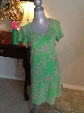 Lot Lilly Pulitzer womens Coral green pink stretchy cotton dress water bottle m