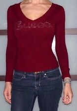 EUC Womens Small Guess Jeans Sequin Logo Dark Red Maroon Long Sleeve Sweater Top