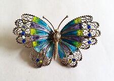Vintage Sterling Silver & Enamel Butterfly Brooch Pin, 800 Silver