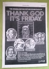 DONNA SUMMER Thank God It's Friday film UK Poster size Press ADVERT 16x12 inches