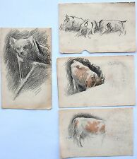 Charles Gogin (1844-1931) 4 x small drawings of animals. Cat, dogs & cows.