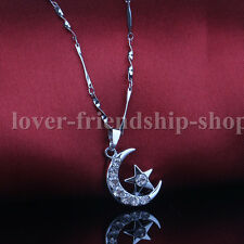 925 Sterling Silver Chain Crystal Pendants Necklace Jewelry Gift Moon Stars 1P