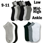 12 Pairs Mens Womens 9-11 Crew Ankle Low Cut Sports Socks Black White Gray New