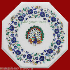 "12"" White Marble Coffee Table Handmade Pietra dura Art Home Decor For Gifts"