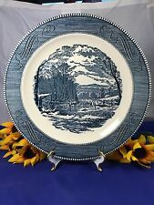 """Royal China CURRIER and IVES WOOD CUTTING Round Serving Plate 11 3/8"""""""