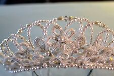 Tiara Headdress NEW White Flower Pearl Beads Satin Loops Prom Pageant Wedding