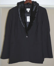 Chico's Faux Fur Collar Black Blazer Size 3 16 18 XL New 1X