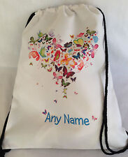 PERSONALISED Gym BAG for Sports, Swim, PE, Dance - Butterfly Heart 40x31cm