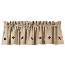 Country tan HERITAGE red STAR lined window valance /nice