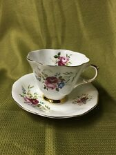 QUEEN ANNE TEA CUP AND SAUCER ROSES & THICK GOLD TEACUP PATTERN FLARED