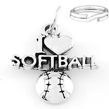 "STERLING SILVER ""I LOVE SOFTBALL"" CHARM WITH SPLIT RING"