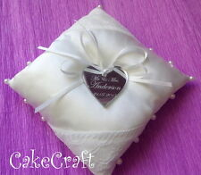 Personalised ivory satin wedding ring cushion pillow with acrylic loveheart