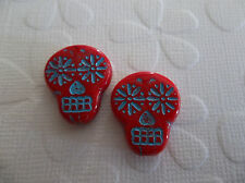 Sugar Skull Beads - Red with Turquoise - Pressed Glass - 20x17mm - Qty 6
