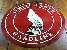 "WHITE EAGLE GASOLINE RED & WHITE 14"" ROUND ADVERTISING GAS STATION SIGN"