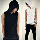 Mens Casual Gym Training Plain Fitted Sleeveless Hoodie/T Shirt/Top/Vest S-XL
