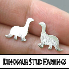 Dainty Dinosaur Silver Plated Stud Earrings~Stylish Quirky Minimalist Jewellery~