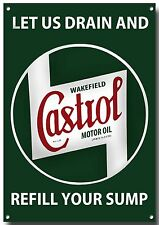LGE A3 SIZE CASTROL LET US DRAIN YOUR SUMP ENAMELLED METAL SIGN,RETRO,GARAGE.