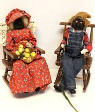 Black Americana~Hand Made Husband & Wife Old Folks in Wood Rocking Chairs~GUC