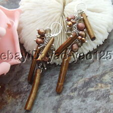 H072112 Brown Pearl Spongy Coral Crystal Earrings-925 Silver Lever Back