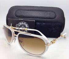 CHROME HEARTS Sunglasses JACKWACKER I MWT-GP White & Gold Plated Aviator w/Brown
