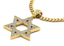 "Mens Gold Iced Out Star of David Pendant Hip-Hop 30"" Cuban Necklace Chain"