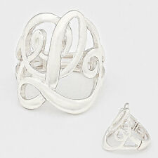 "Monogram Initial Script Ring letter L Silver 1""Stretch Silver"