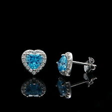 1CT Halo Heart Earrings Aquamarine Blue Created Diamond Studs 14K White Gold